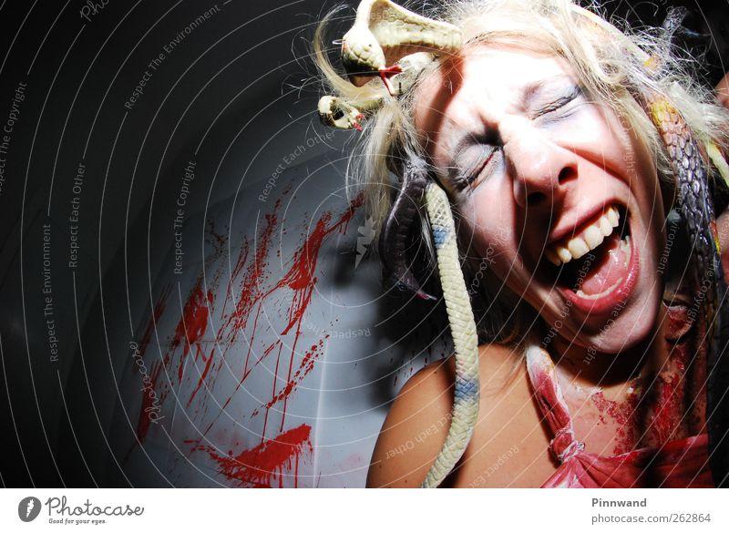 rot Gesicht feminin Gefühle Haare & Frisuren lustig blond dreckig verrückt Junge Frau Zähne fallen Wut schreien Leidenschaft Todesangst