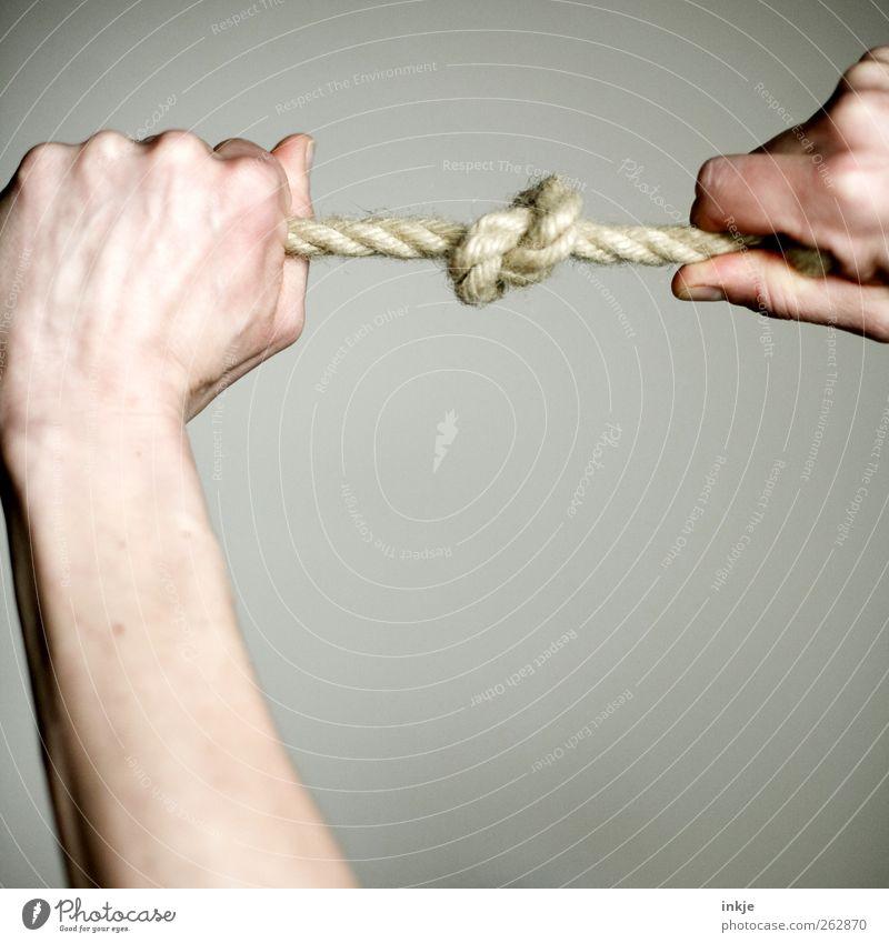 feste Beziehung Hand Gefühle Kraft Freizeit & Hobby Seil Kraft Netzwerk Sicherheit einfach festhalten fest stark Verbindung machen Zusammenhalt Handwerk