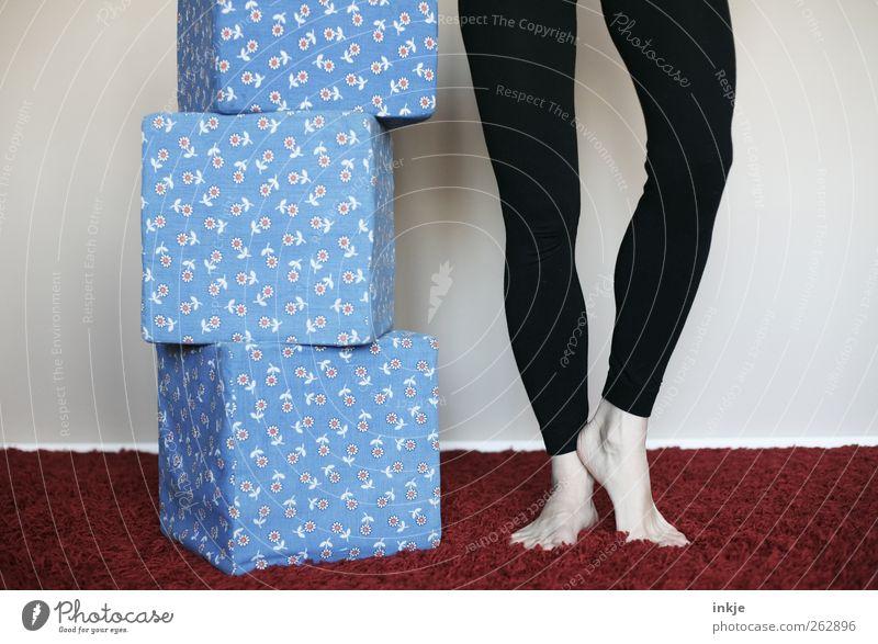 hometraining Mensch blau Erwachsene Leben Spielen Gefühle Beine Stimmung Gesundheit Freizeit & Hobby warten hoch Erfolg stehen Lifestyle Coolness