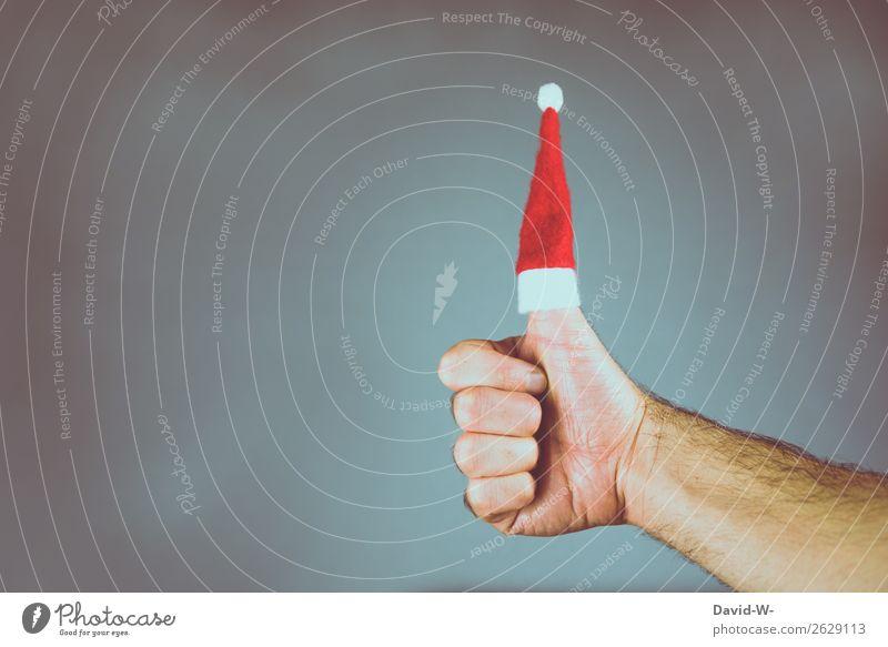 Weihnachten Positive Emotionen - Daumen hoch Weihnachtszeit Beginn Weihnachtsstimmung Weihnachten & Advent Freude Vorfreude Nikolausmütze