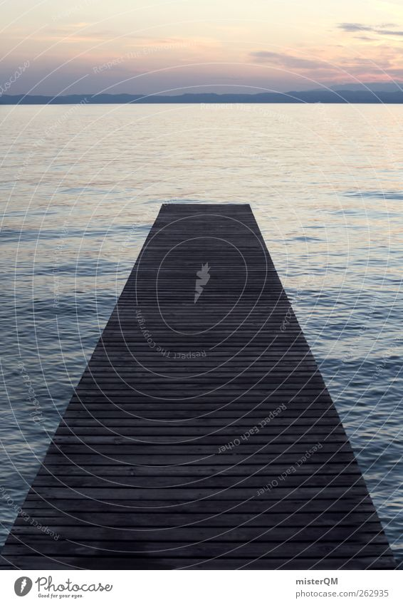 Über's Wasser. Ferien & Urlaub & Reisen Einsamkeit ruhig Ferne Erholung Wege & Pfade See Kunst Horizont ästhetisch Laufsport Perspektive Hoffnung Show