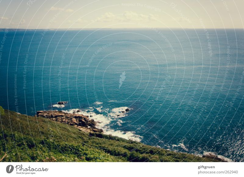 horizont Umwelt Natur Landschaft Urelemente Erde Wasser Himmel Wolken Horizont Sommer Schönes Wetter Pflanze Gras Grünpflanze Wiese Hügel Felsen Wellen Küste