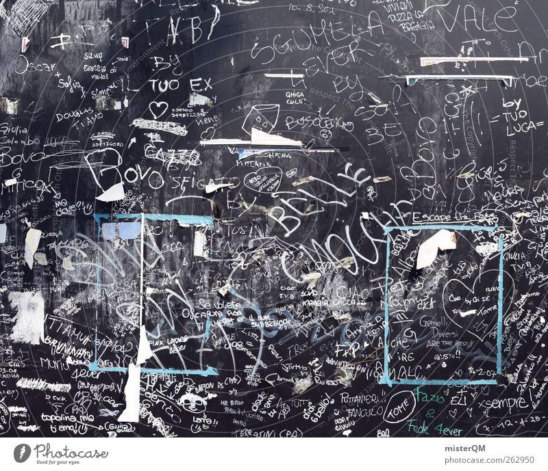 Kreidezeit. Kunst ästhetisch Kunstwerk Schule Tafel Kreidezeichnung Schmiererei Graffiti Jugendliche modern abstrakt Kreativität Idee Narrenhände Wand