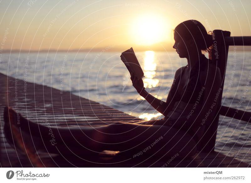 Einfach frei I Kunst ästhetisch Zufriedenheit friedlich Frau lesen Freizeit & Hobby Gleichgewicht Sommerurlaub Ferien & Urlaub & Reisen Urlaubsfoto