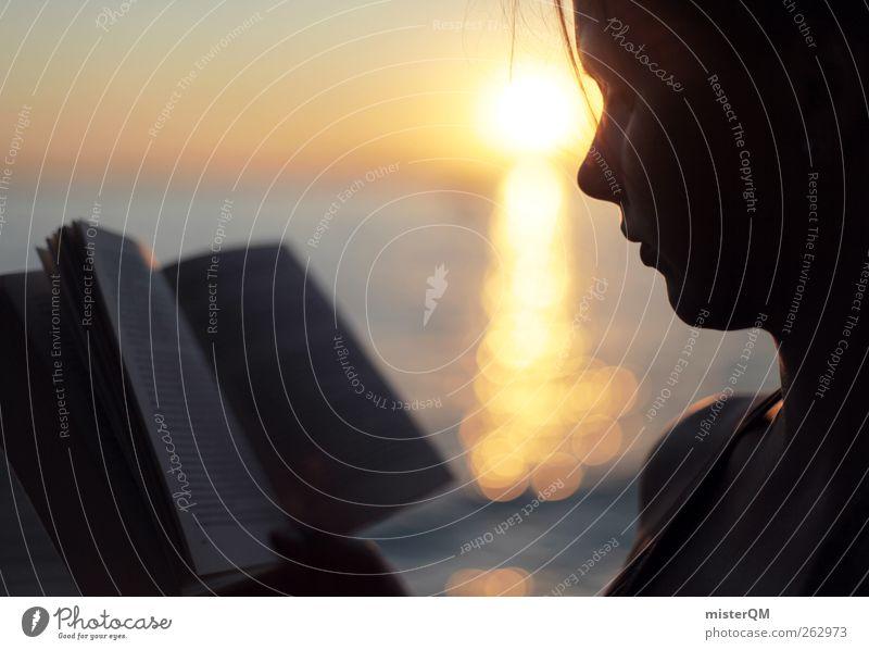 Einfach frei II Frau Sonne Mädchen Sommer Ferne Erholung Kunst Zufriedenheit Freizeit & Hobby Schwimmen & Baden Buch Abenteuer ästhetisch lesen Bildung
