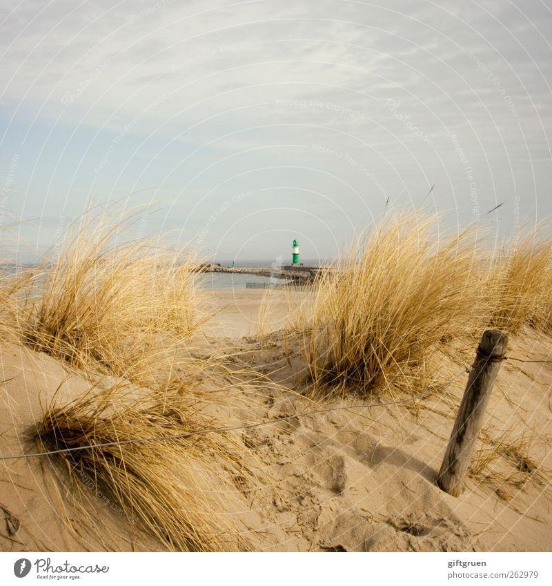 sonst ganz groß Umwelt Natur Landschaft Pflanze Urelemente Sand Wasser Himmel Wolken Sommer Gras Küste Strand Ostsee Meer klein Leuchtturm Turm Düne Stranddüne
