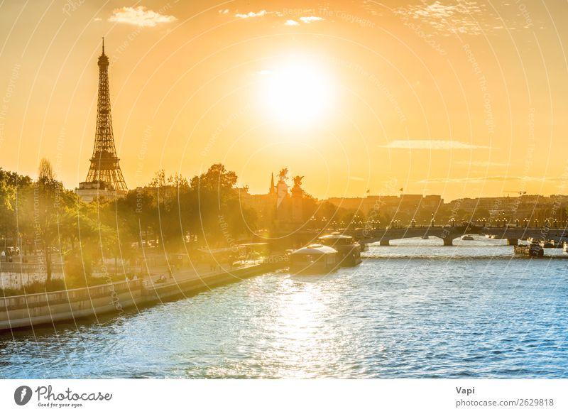 Schöner Sonnenuntergang mit Eiffelturm schön Ferien & Urlaub & Reisen Tourismus Ausflug Abenteuer Sightseeing Städtereise Sommer Sommerurlaub Architektur Kultur