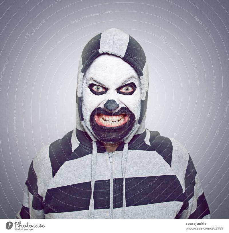 Freak Mensch Mann Jugendliche Gesicht Erwachsene Angst maskulin einzigartig Zähne Maske gruselig Junger Mann skurril Künstler Humor