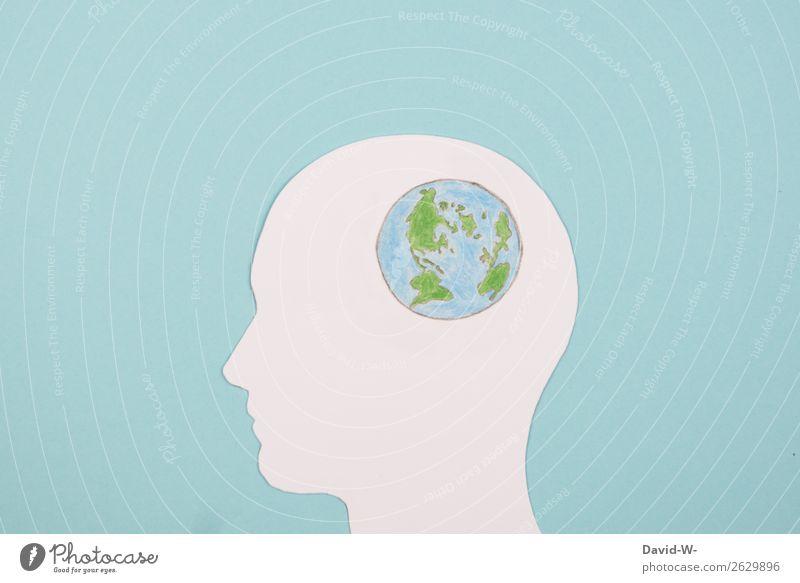 Kopf sich über die Welt Erde Gedanken machen Globus Denken Collage Zeichnung Zukunftsangst Basteln Umwelt Umweltverschmutzung Umweltschutz umweltfreundlich