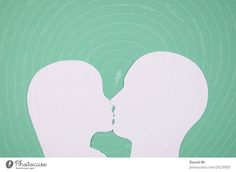 Kuss Lifestyle elegant Stil Design Mensch maskulin feminin Frau Erwachsene Mann Paar Partner Leben Kopf Mund 2 Kunst Kunstwerk Kommunizieren Küssen Fröhlichkeit