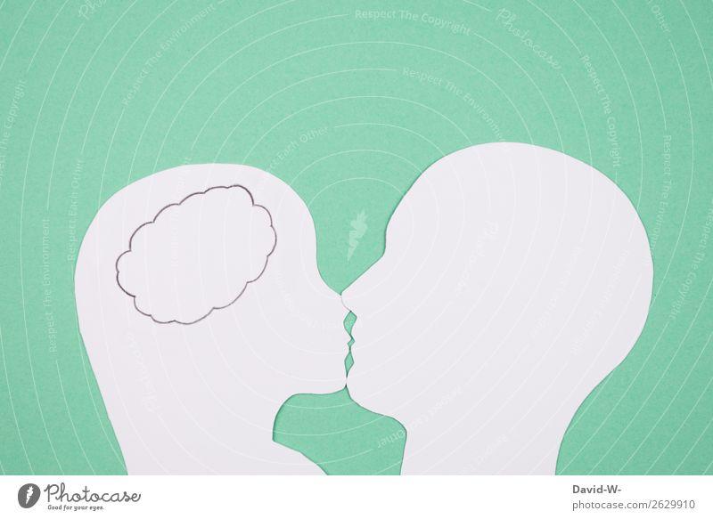 Gedanken 1 Lifestyle elegant Stil Glück Zufriedenheit Flirten Valentinstag Mensch maskulin feminin Frau Erwachsene Mann Leben Kopf Lippen 2 Kunst berühren