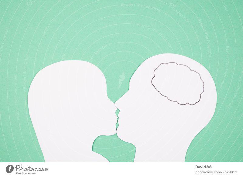 Gedanken 2 Lifestyle Stil Design Freude Glück Valentinstag Mensch maskulin feminin Frau Erwachsene Mann Jugendliche Leben Kopf Lippen Kunst berühren Denken