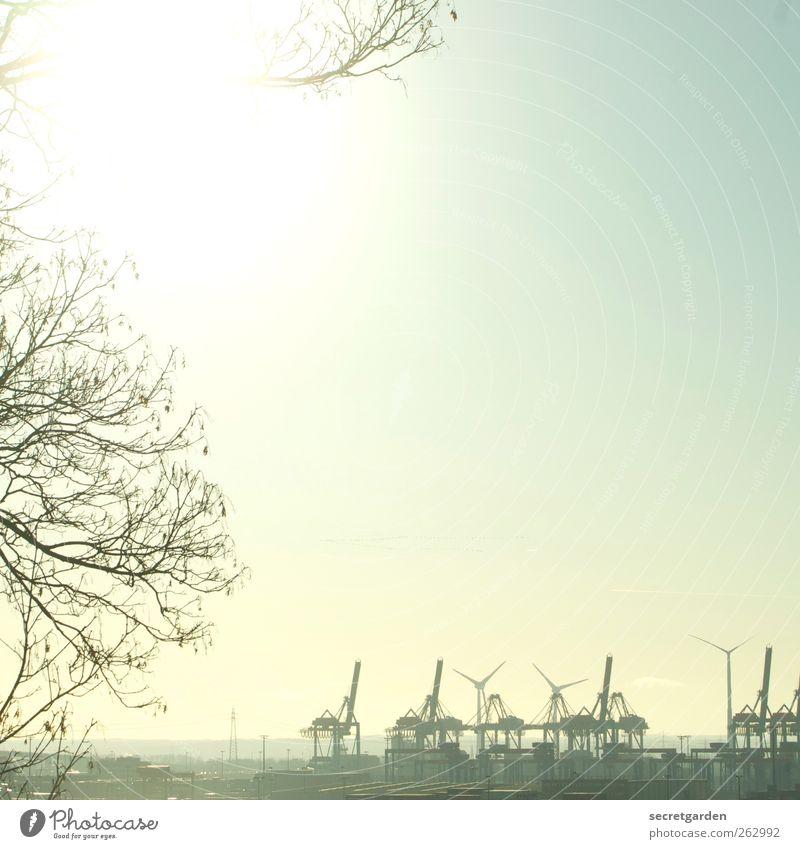 sonnige geburtstagsgrüße aus hamburg an frank! grün Baum Sommer hell Arbeit & Erwerbstätigkeit Hamburg Sträucher Industrie Technik & Technologie Schönes Wetter Windkraftanlage Schifffahrt Wahrzeichen Kran Sehenswürdigkeit Sightseeing
