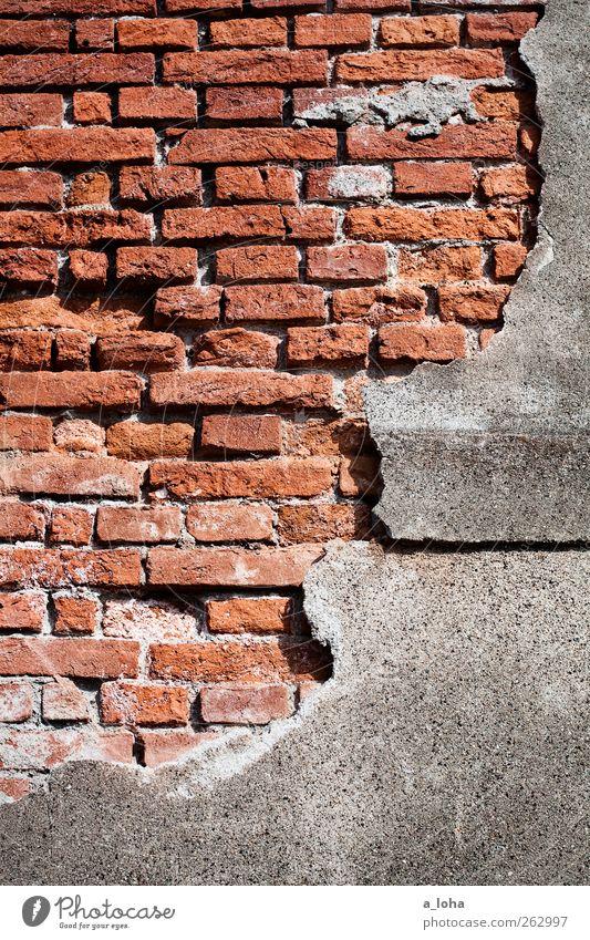 how old would you be Menschenleer Haus Ruine Bauwerk Fassade Beton Backstein Linie alt historisch kaputt grau rot Verfall Zerstörung Farbfoto Außenaufnahme Tag