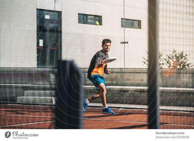 Mann spielt Padel Paddel Glas Gerichtsgebäude Freude Freizeit & Hobby Außenaufnahme Schuss zusammenpassen Padel-Tennis Spielen Paddelklasse Padelplatz