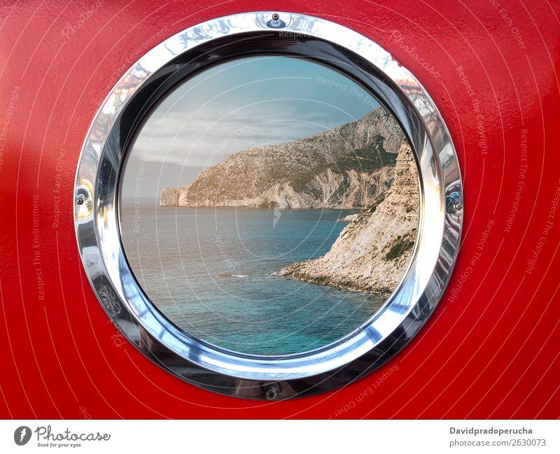 Metallfenster für Boote mit schöner Aussicht Wasserfahrzeug Fenster Berge u. Gebirge Bullauge Jacht Segelboot nautisch Küste Meer Gefäße marin