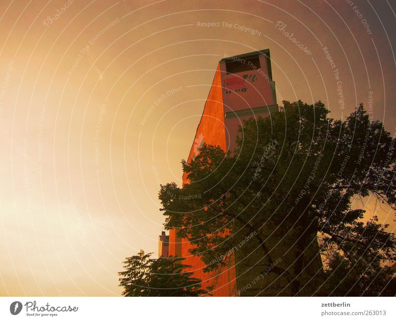 Giebel Stadt Hauptstadt Altstadt Menschenleer Haus Bauwerk Gebäude Architektur Mauer Wand alt Dachgiebel Baum Himmel (Jenseits) Abenddämmerung Farbfoto