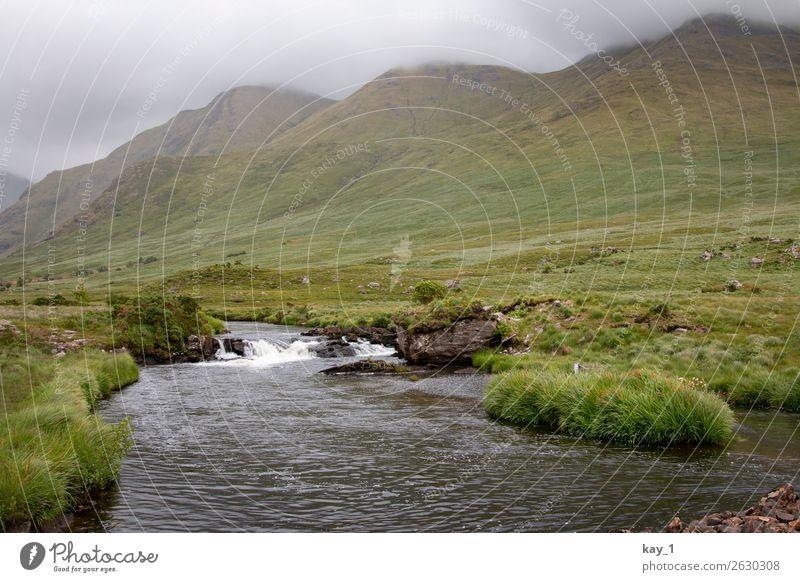 Ein kleiner Fluss zieht durch mit Gras bewachsene Weideflächen, im Hintergrund Berge. Natur Landschaft Wasser Schönes Wetter Sommer Flussufer ästhetisch