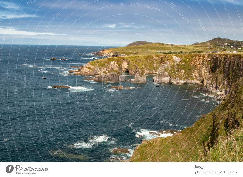 Irische Küste Natur Landschaft Wasser Himmel Sonne Sommer Herbst Schönes Wetter Gras Wiese Felsen Wellen Bucht Meer Dunquin Republik Irland Europa Ferne