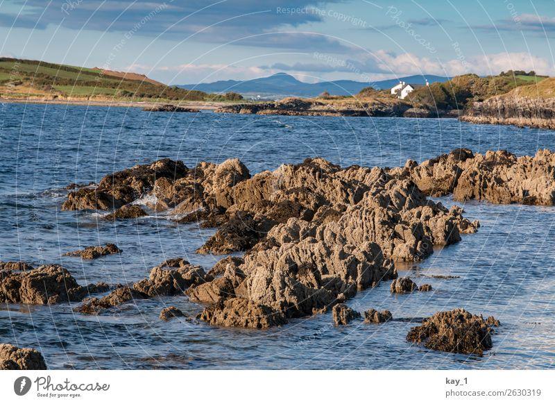 Blue Irish Water Natur Landschaft Wasser Horizont Sonnenlicht Sommer Herbst Schönes Wetter Felsen Küste Seeufer Flussufer Fjord Haus ästhetisch blau ruhig