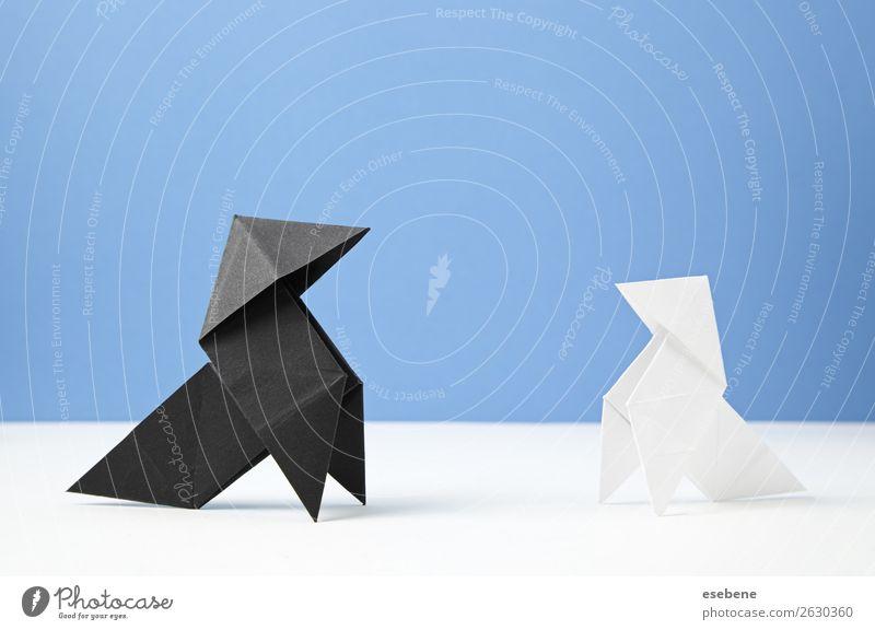 Ein paar Papiervögel Design Freizeit & Hobby Handarbeit Freiheit Dekoration & Verzierung Handwerk Vogel machen einfach frei blau Glaube Religion & Glaube Idee