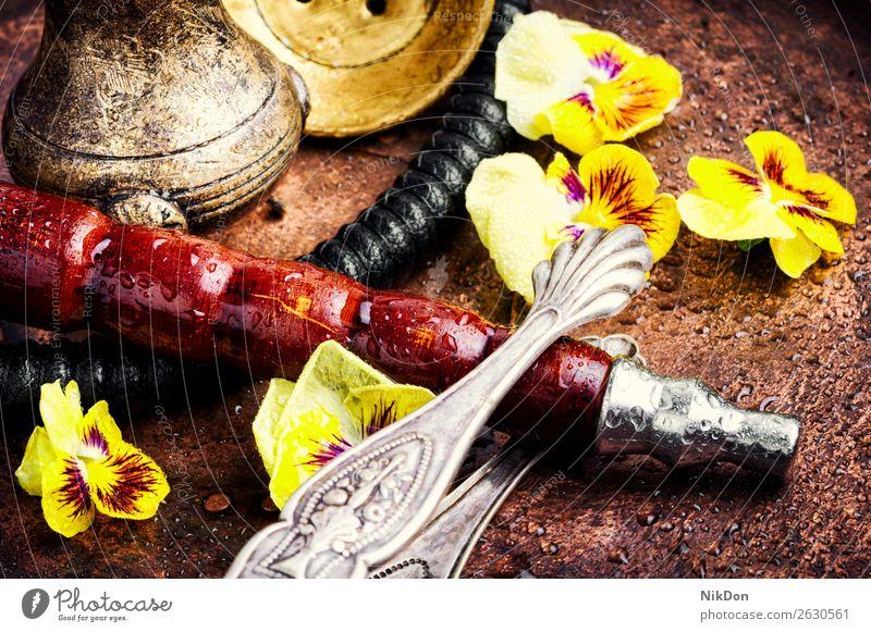 Asiatische Tabakshisha mit Blütenaroma Wasserpfeifenrauch Blume Rauch Kräuterbuch geblümt Shisha rauchen Blatt Mundstück Detailaufnahme retro altehrwürdig
