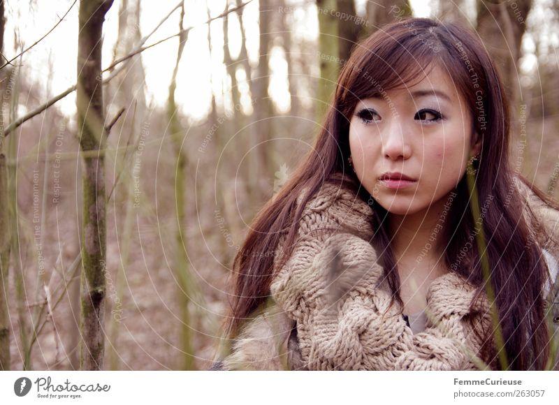 Girl lost in the woods. V Mensch Frau Natur Jugendliche schön Baum Erwachsene Gesicht Wald feminin Kopf braun Junge Frau Freizeit & Hobby 18-30 Jahre Spaziergang