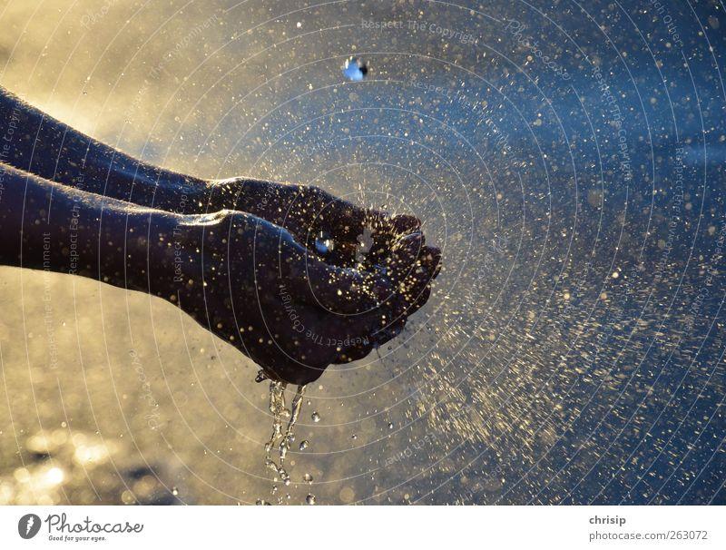 Hände waschen Mensch blau Wasser Hand Sonne Freude gelb Regen gold Haut dreckig nass Finger Wassertropfen Schönes Wetter Sauberkeit
