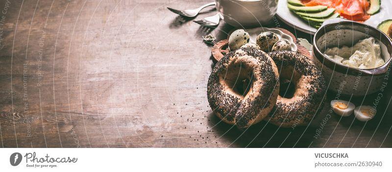 Bagel Brötchen und Sandwich Zutaten Lebensmittel Brot Frühstück Geschirr Stil Design Häusliches Leben Tisch Fahne Hintergrundbild Belegtes Brot Snack Ei Tasse