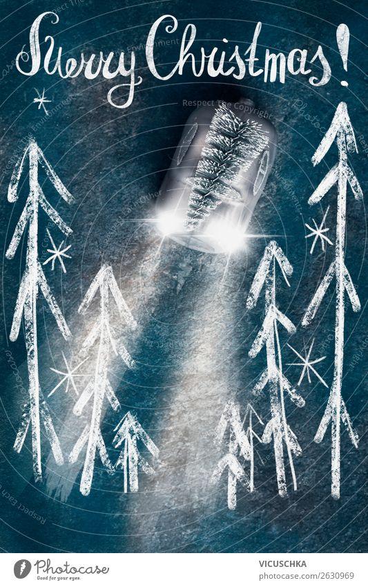 Merry Christmas mit Weihnachtsbaum auf Spielzeugauto Stil Design Winter Dekoration & Verzierung Feste & Feiern Weihnachten & Advent Zeichen Schriftzeichen