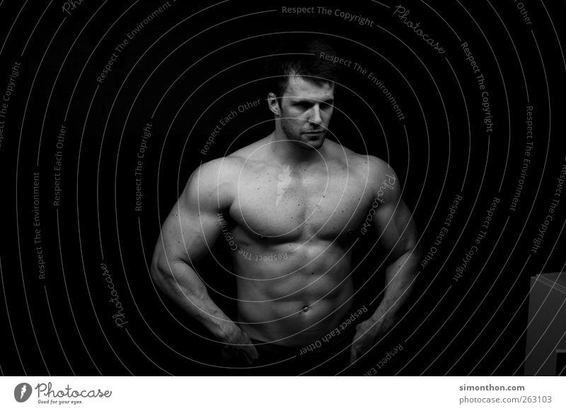 bodybuilder Mensch Mann Jugendliche Erwachsene 18-30 Jahre Körper Arme Kraft maskulin stehen Ernährung ästhetisch Fitness stark Brust Sport-Training