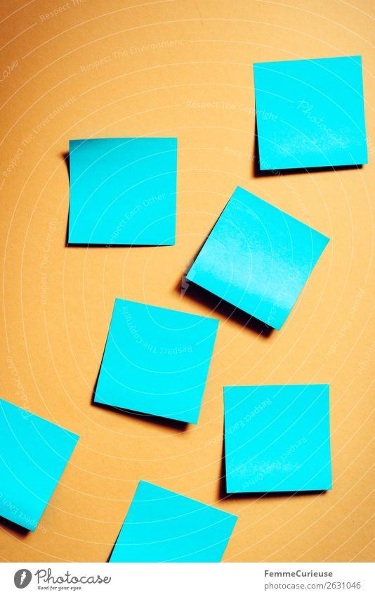 Notes on a neutral orange background blau Kommunizieren leer Papier Zettel Schreibwaren