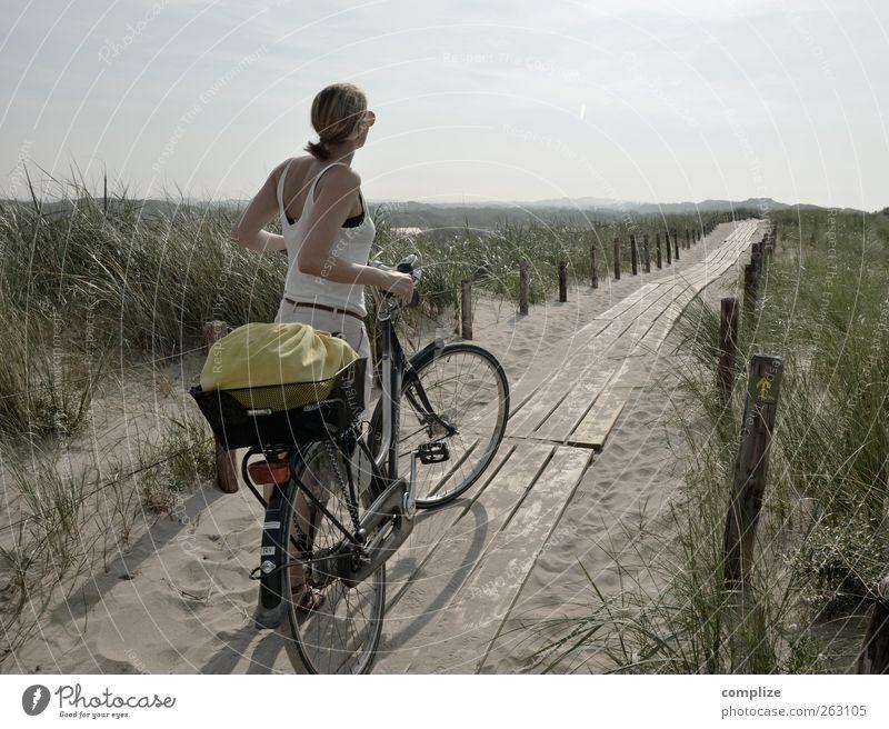 de duinen Ferien & Urlaub & Reisen Tourismus Ausflug Ferne Fahrradtour Sommer Junge Frau Jugendliche Erwachsene 1 Mensch Küste Nordsee Niederlande Dünengras