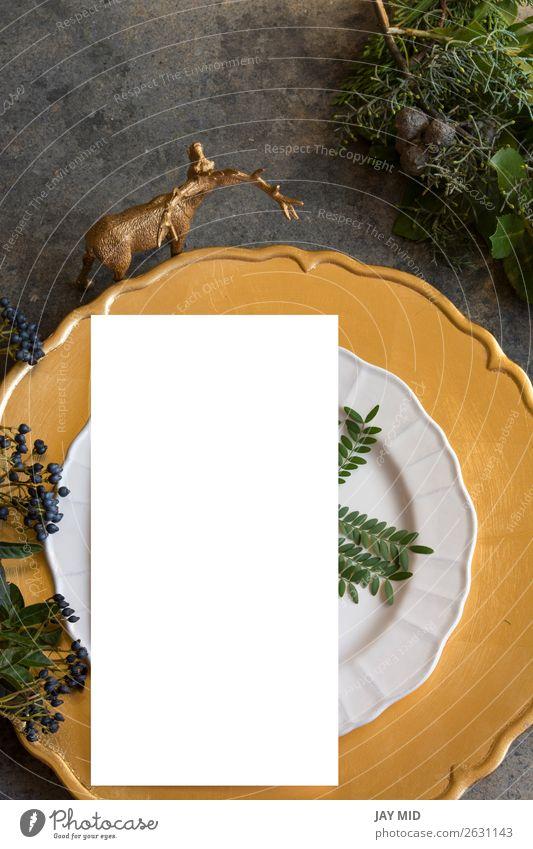 Goldplatzierung mit leerem Menü auf Grunge Abendessen Teller Winter Dekoration & Verzierung Tisch Restaurant Weihnachten & Advent Silvester u. Neujahr Stoff