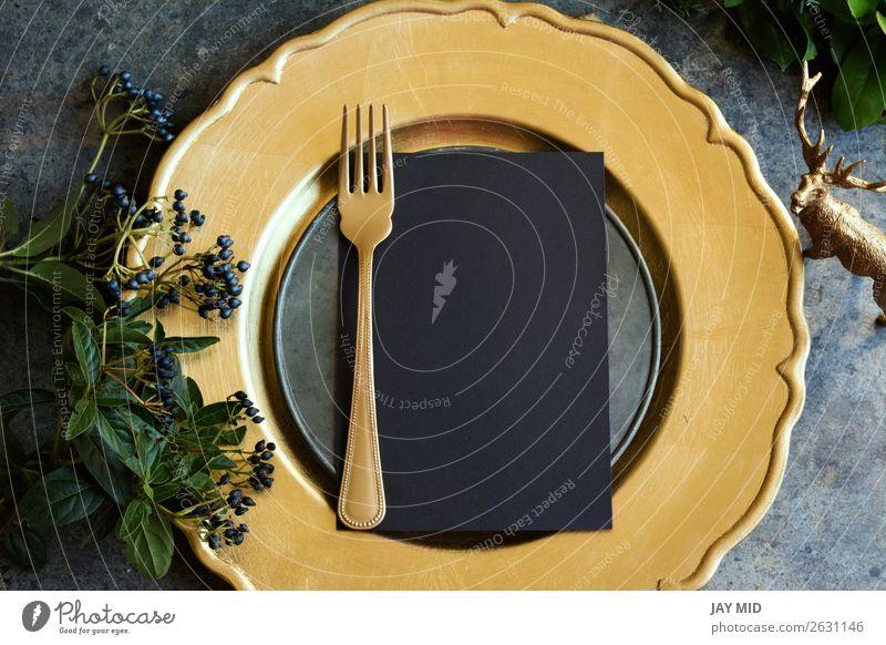 Goldplatzierung mit leerem Menü auf Grunge Lebensmittel Abendessen Teller Gabel Winter Dekoration & Verzierung Tisch Restaurant Feste & Feiern Ostern