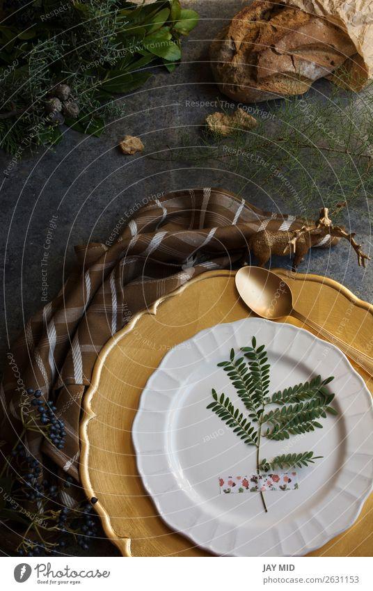 Holiday Gold Platz Einstellung, Serviette braun kariert Abendessen Teller Winter Dekoration & Verzierung Tisch Restaurant Erntedankfest Weihnachten & Advent