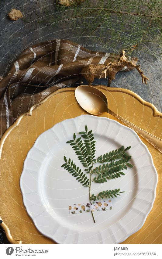 Holiday Gold Platz Einstellung Serviette braun kariert Grunge Hintergrund Abendessen Teller Winter Dekoration & Verzierung Tisch Restaurant Erntedankfest