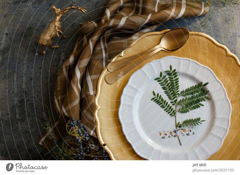 Holiday Gold Platz Einstellung, Serviette braun kariert Abendessen Teller Winter Dekoration & Verzierung Tisch Restaurant Feste & Feiern Erntedankfest
