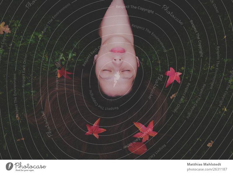Junge Frau mit Herbstblättern Mensch feminin Jugendliche 1 18-30 Jahre Erwachsene Erde Blatt Wiese Erholung liegen schlafen braun grün rot Vertrauen Sicherheit