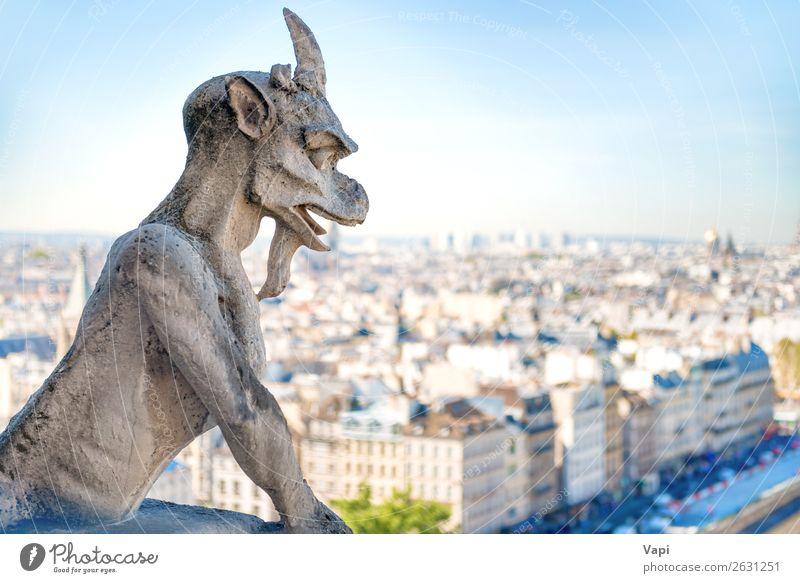 Gargoyle-Statue auf Notre Dame de Paris Ferien & Urlaub & Reisen Tourismus Ausflug Abenteuer Ferne Sightseeing Städtereise Sommer Sommerurlaub Haus Kunst