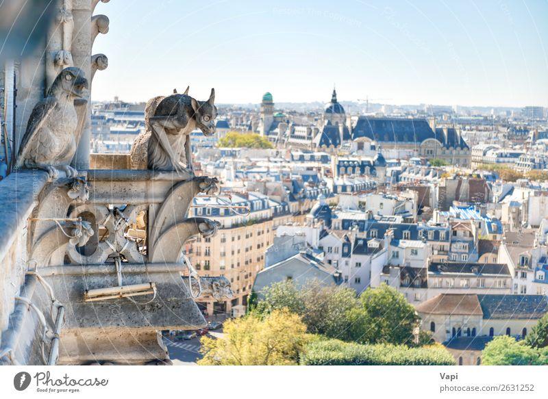 Gargoyle-Statue auf Notre Dame de Paris Ferien & Urlaub & Reisen Tourismus Ausflug Sightseeing Städtereise Sommerurlaub Skulptur Kultur Landschaft Himmel