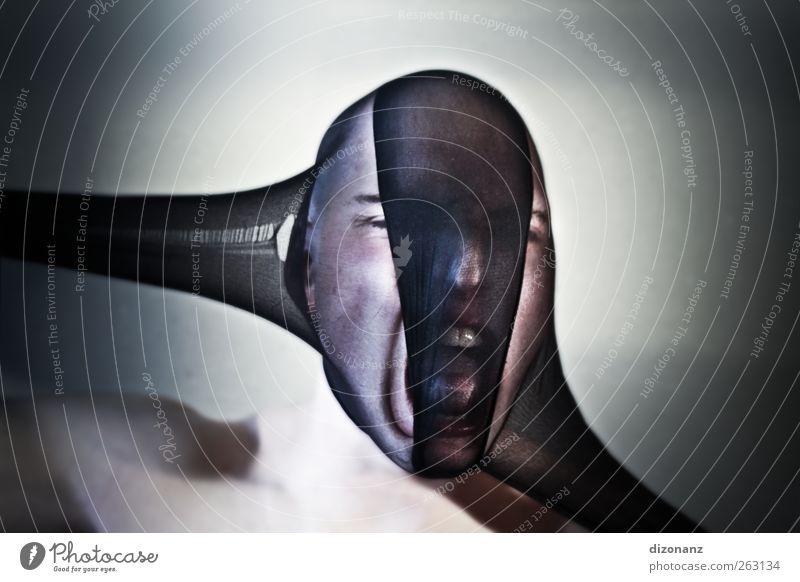 Zerreißprobe. Mensch Jugendliche Erwachsene Kopf Kraft Angst maskulin 18-30 Jahre Junger Mann Wut Schmerz Todesangst Stress Glatze Zukunftsangst