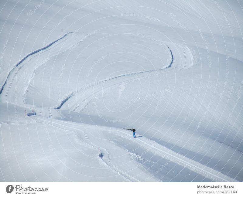 Einzelkämpfer Mensch blau weiß Winter Einsamkeit ruhig Schnee Sport Berge u. Gebirge Freiheit Bewegung Kraft wandern Ausflug frei Skifahren