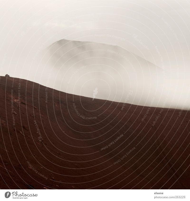 volcano Natur Umwelt Landschaft Berge u. Gebirge Nebel Hügel Gipfel Island schlechtes Wetter Vulkan Vulkankrater Wolkenwand Vestmannaeyjar Inseln Heimaey