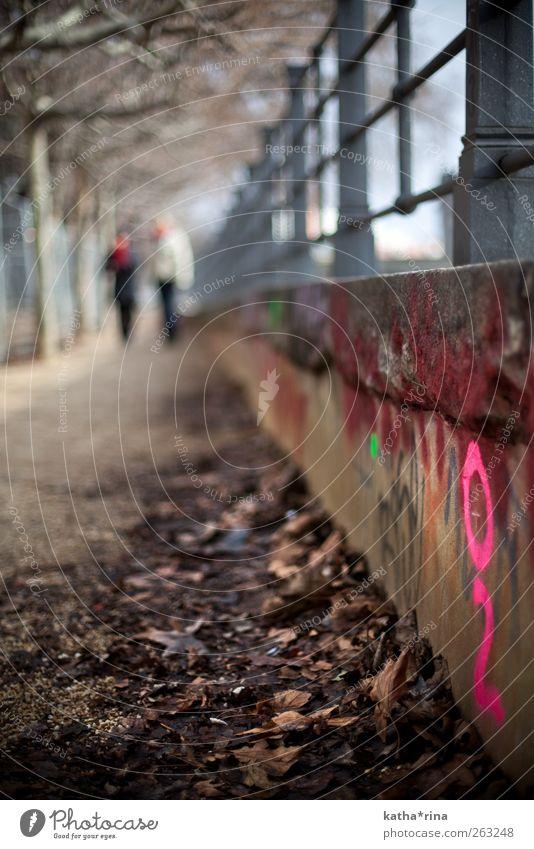 i . Mensch Blatt Winter Graffiti Herbst Wege & Pfade rosa Schilder & Markierungen stehen Schriftzeichen Geländer Information herbstlich Grafik u. Illustration Tiefenschärfe Straßenkunst
