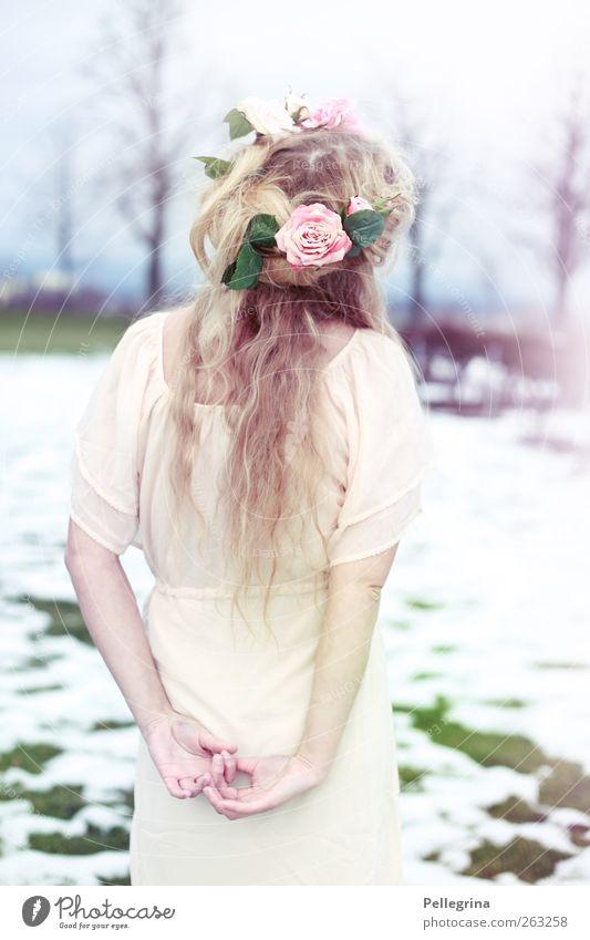 ein traum von rosen und lavendel Mensch Jugendliche Hand schön Erwachsene feminin Schnee Körper Rücken 18-30 Jahre Romantik Junge Frau Rose verträumt Frühlingsgefühle