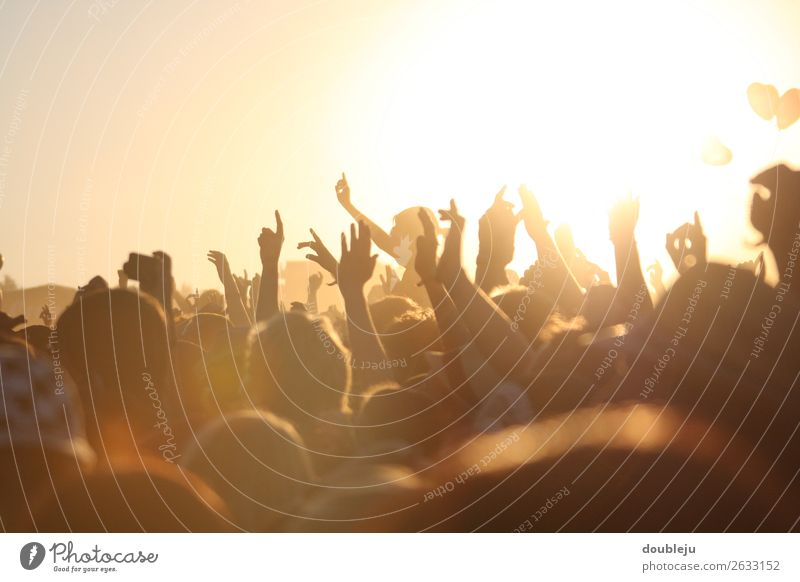 Open-Air-Festival Festspiele Außenaufnahme Fan Musik Felsen Popmusik Völker Menschen freizeit Wochenende Party Sonne sonnenuntergang sich[Akk] beugen