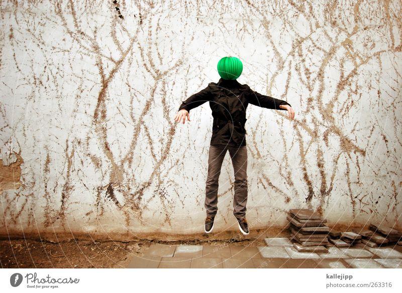 grüne männchen gibt es nicht? Mensch maskulin Mann Erwachsene Körper 1 springen Kopf Schwerelosigkeit Schweben Außerirdischer Lampion Idee Farbfoto