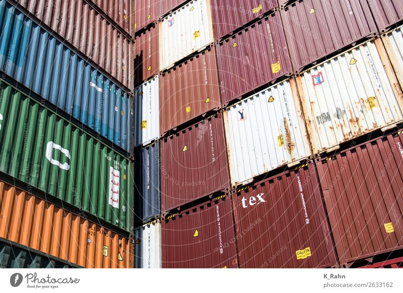 """Container im Hamburger Hafen Wirtschaft Industrie Handel Güterverkehr & Logistik Schifffahrt Binnenschifffahrt Containerschiff kaufen """"behälter business cargo"""