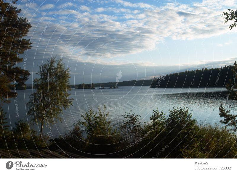 See Wolken Wald Schweden Wasser Himmel